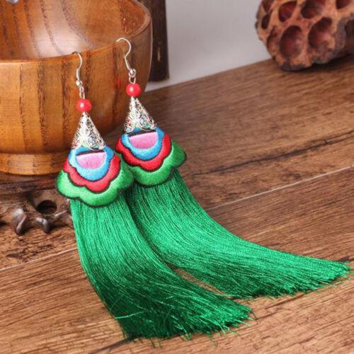 Femme Strass D/'oreille Frange Bohème Paillette Longue Bijoux Dangle Cadeau Mode