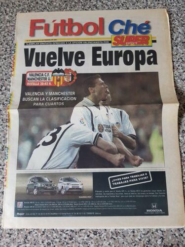 PROGRAMME//NEWSPAPER,VALENCIA v MAN UTD champions lge 14th feb 2001