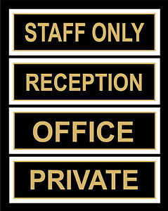 office door signs reception staff only private 200x65mm retail