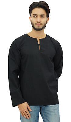 Atasi Men/'s Short Kurta Brown Round Keyhole Neck Cotton Tunic Shirt
