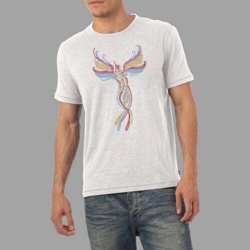Twisted Envy Men/'s Rainbow Phoenix Diamante Rhinestone T-Shirt