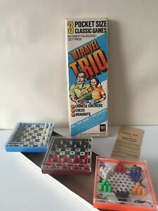 Vintage-Travel-Trio-1970-039-s-3-Pocket-Peg-Board-Chess-amp-Checkers-Games-Complete