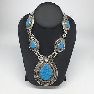 Turkmen-Necklace-Afghan-Ethnic-Tribal-5-Cab-Turquoise-Inlay-Kuchi-Necklace-TN251