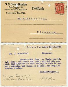 23767 - Mi.Nr. 163 - Postkarte - Breslau 17.11.1921 nach Nürnberg - Zipfelmützen - Berlin, Deutschland - 23767 - Mi.Nr. 163 - Postkarte - Breslau 17.11.1921 nach Nürnberg - Zipfelmützen - Berlin, Deutschland