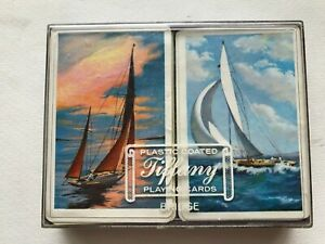 Vintage-Tiffany-Double-Dual-Deck-Playing-Cards-Sailboat