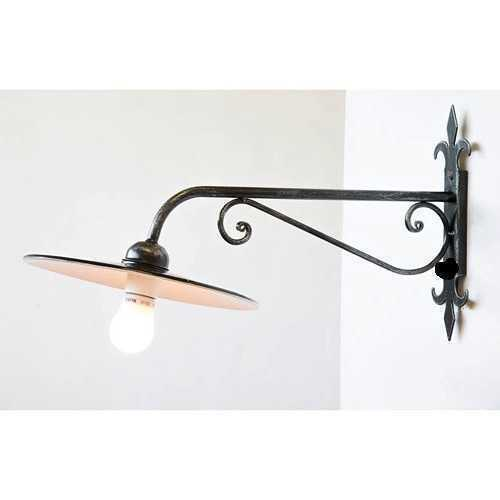 Lampada in ferro battuto da parete in ferro lunghezza 65 cm made in