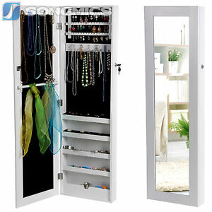songmics armoire murale bijoux rangement avec miroir et. Black Bedroom Furniture Sets. Home Design Ideas