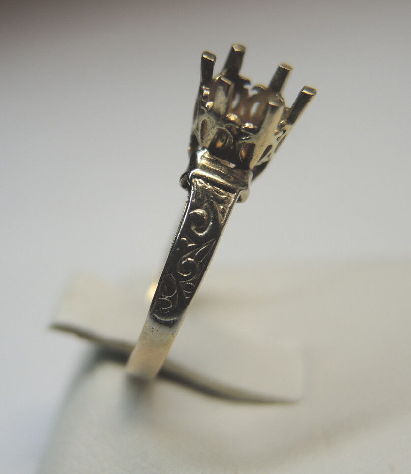 Antique Vintage Mounting Setting 14K Yellow gold Ring Sz 6 UK-L1 2 Hold 5-5.5MM