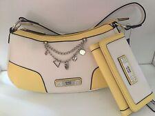 Guess Senuri Hobo Tote Handbag Purse w/Wallet White Yellow Multi NWT