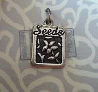 Sterling Silver 17x11mm Gardening Garden Flower Seed Packet Says Seeds Charm