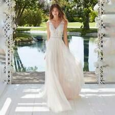 Sleevless lace bohemian wedding dress Simple modest vintage beach bridal gown