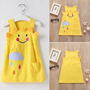 US-Baby-Kids-Girls-Cartoon-Little-Sun-Dress-Sleeveless-Summer-Clothing-Pajamas