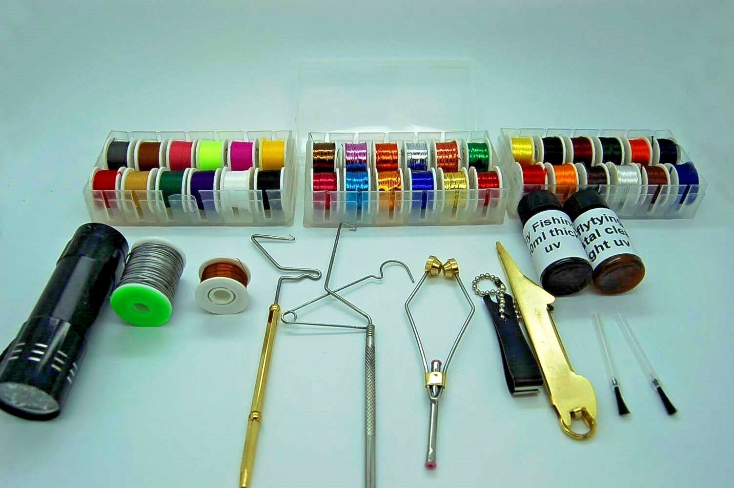 Fly Fly Fly Tying Tool & Material Kit, Floss, Tinsel, Thread, Glue, Whip Finisher, Wire a51620