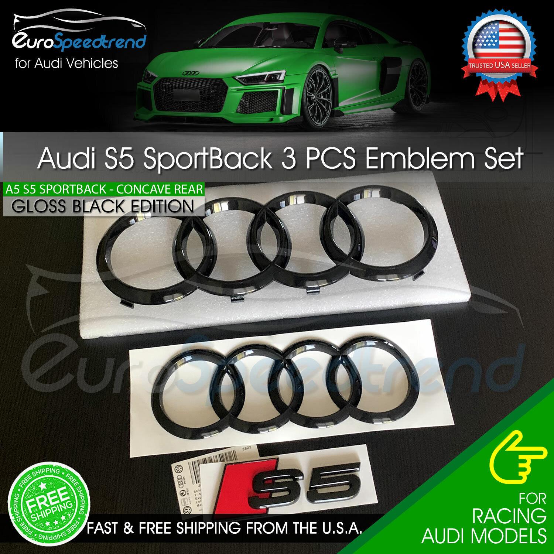 Audi S5 Sportback Front Rear Curve Rings Emblem Gloss Black Logo Badge