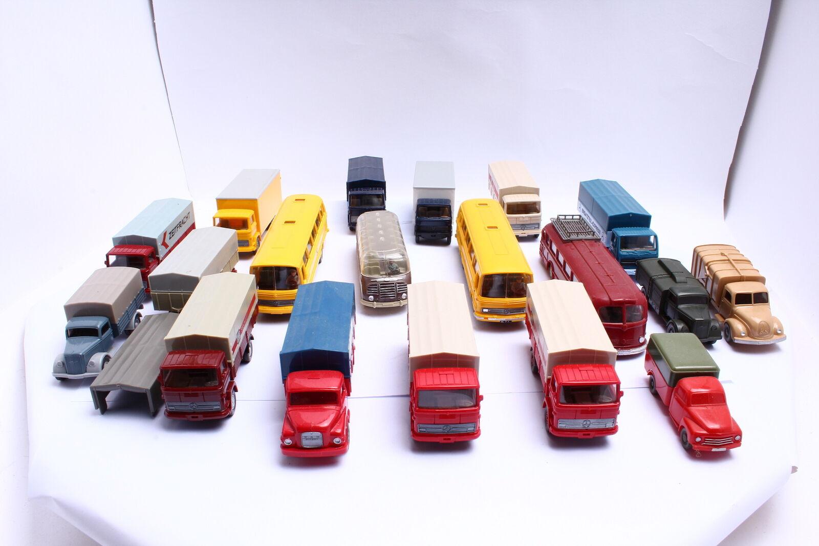 Wiking MB et autres camions et autobus liasse 18 lots de 1 87