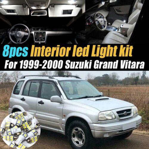 8Pc White Car Interior LED Light Bulb Kit for 1999-2000 Suzuki Grand Vitara