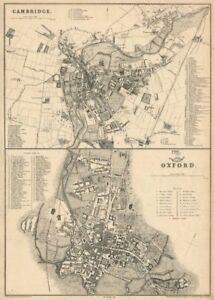 Details about OXFORD & CAMBRIDGE  Town/city plan by JW LOWRY for the  Dispatch Atlas 1863 map