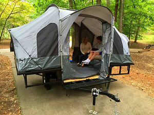 Image is loading Folding-C&er-Tent-&-Utility-ATV-Trailer-Motorcycle- & Folding Camper Tent u0026 Utility ATV Trailer Motorcycle Camp Camping ...