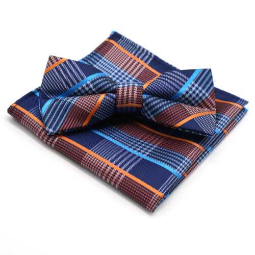 Factory Men/'s Floral Hanky Bowtie Set Striped Plaid Bow Tie Pocket Square Lot