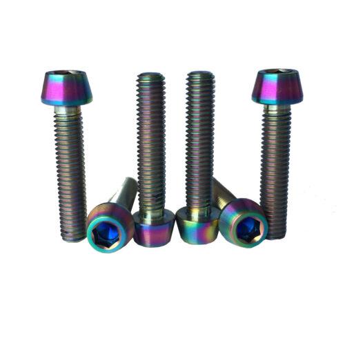 6 Colorful M5X25 Titanium Ti Bolts Grd 5 Allen Hex Tapered Head MTB Bike Screws