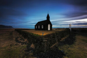 Iceland-Church-at-Night-Photo-Poster-12x18
