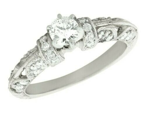 Genuine 0.60Ct Round Cut Diamond Vintage Engagement Ring 10K Gold