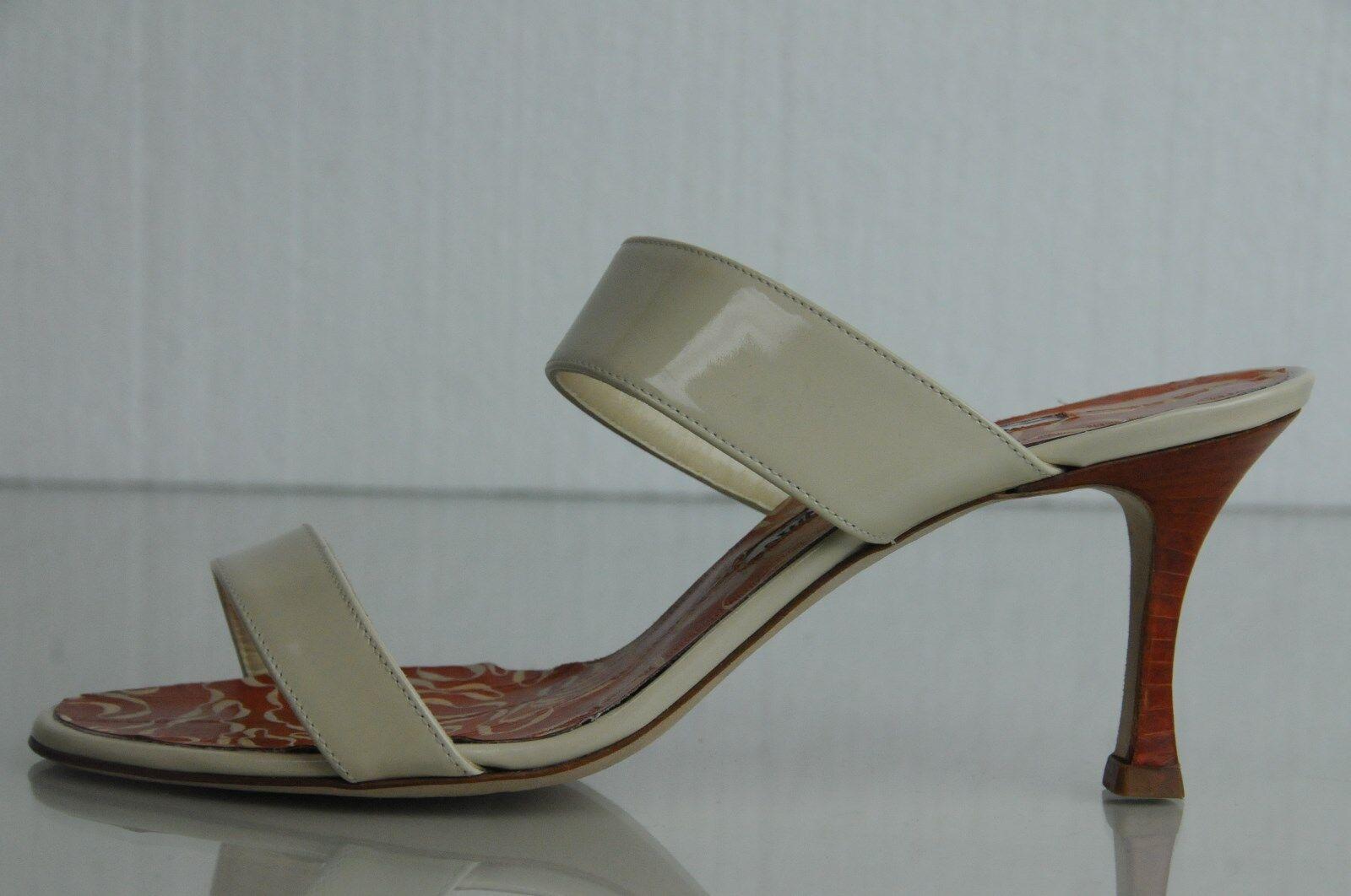 845 New New New Manolo Blahnik Nude Beige Patent Orange Cream EEL Sandals schuhe 37 299e74
