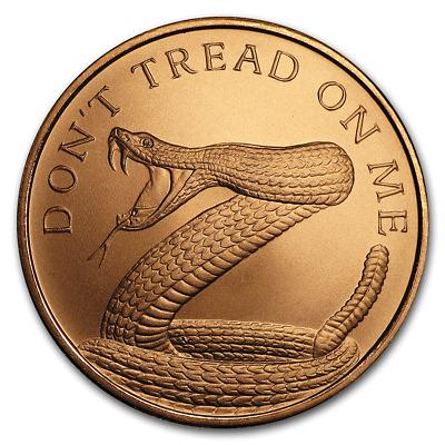 Don/'t Tread On Me 1 oz .999 Copper BU Round USA Made Bullion Coin Ben Franklin