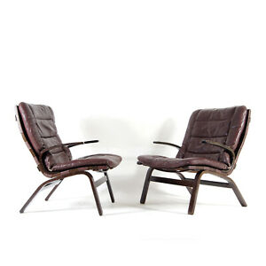 1 of 2 Retro Vintage Danish Farstrup Leather Lounge Chair Armchair 70s Rosewood