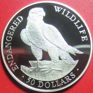 1991-COOK-ISLANDS-50-SILVER-PROOF-PEREGRINE-FALCON-ENDANGERED-WILDLIFE-BIRD