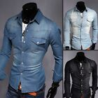 2016 Men Denim Casual Shirts Long Sleeve Slim Fit Mens Jeans Shirts