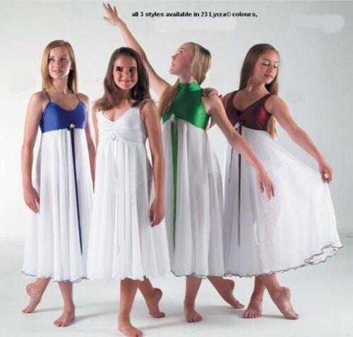TO ORDER Beautiful White Chiffon Lyrical Dress Dance Costume All sizes