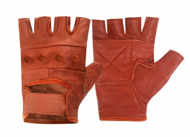 NEW LEATHER FINGERLESS CYCLE  WEIGHT LIFTING  TRAINING GYM BUS ALL PURPOSE GLOVE