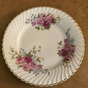 Antique-Made-in-Germany-Plate-pink-roses-tea-china-fluted-gold-edge