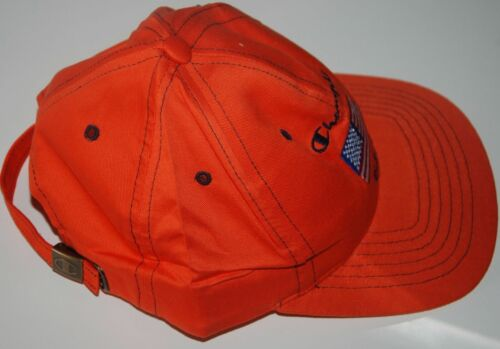 VINTAGE CHAMPION USA FLAG CAP HAT ORANGE COTTON 5 PANEL BASEBALL ONE SIZE NWT