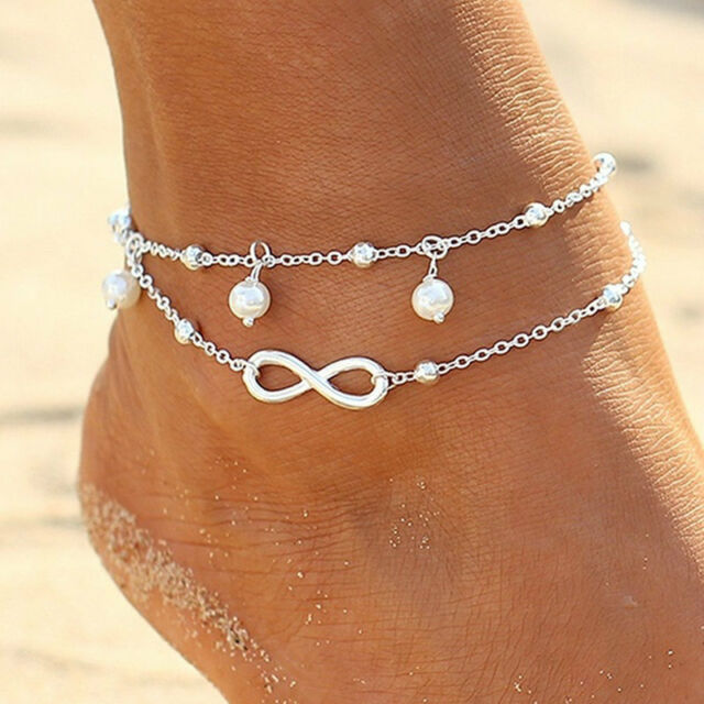 Women Double Chain Ankle Anklet Bracelet Sexy Barefoot Sandal Beach Foot  Jewelry 7b6f619c41a3