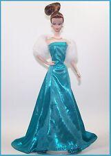 Handmade DOLL Fashion BLUE Gown Stole & Heels *Fits Silkstone & Vintage BARBIE