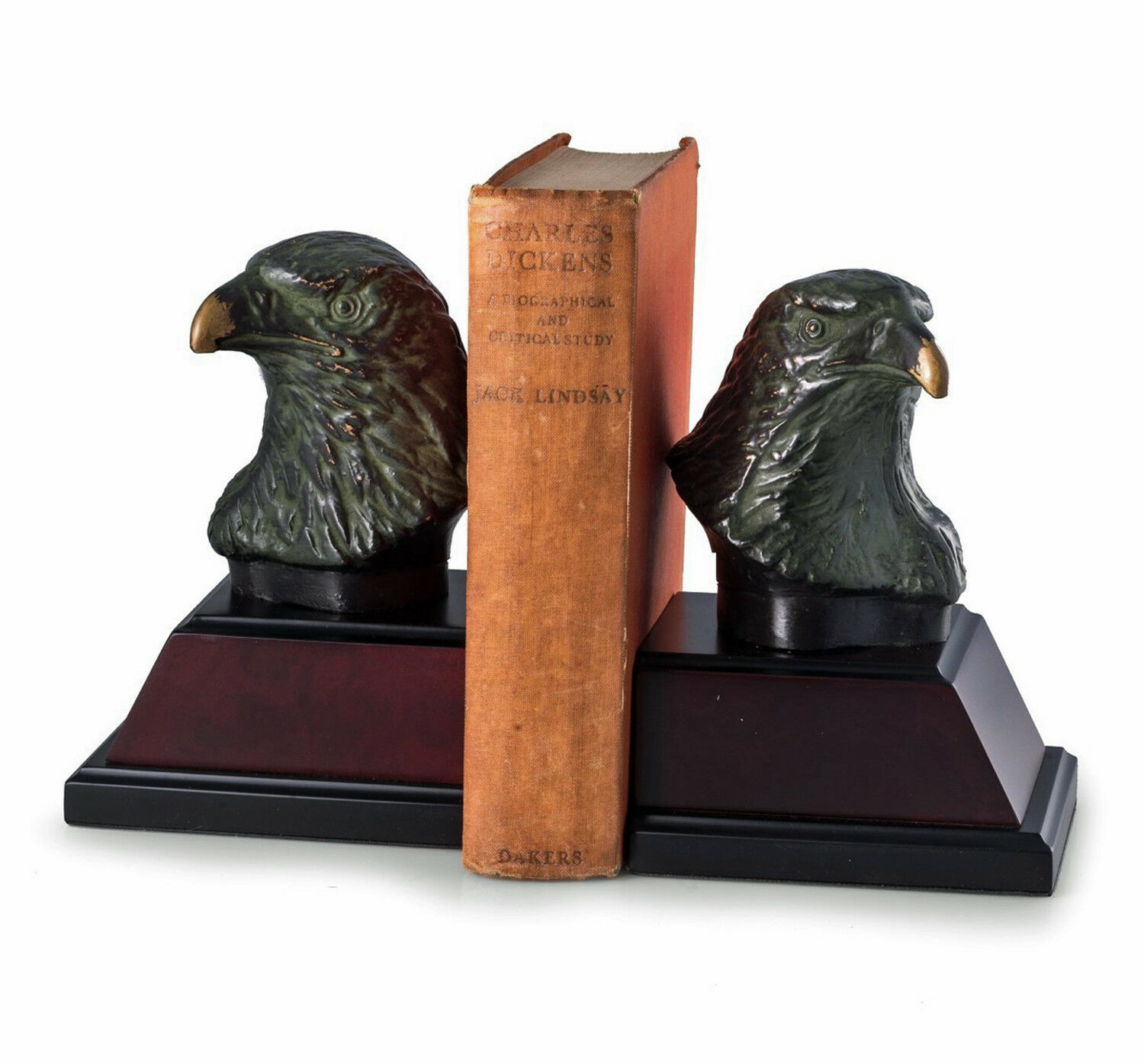 BOOKENDS - MAJESTIC EAGLE BOOKENDS - CAST METAL EAGLE BOOK ENDS ON WOOD BASES