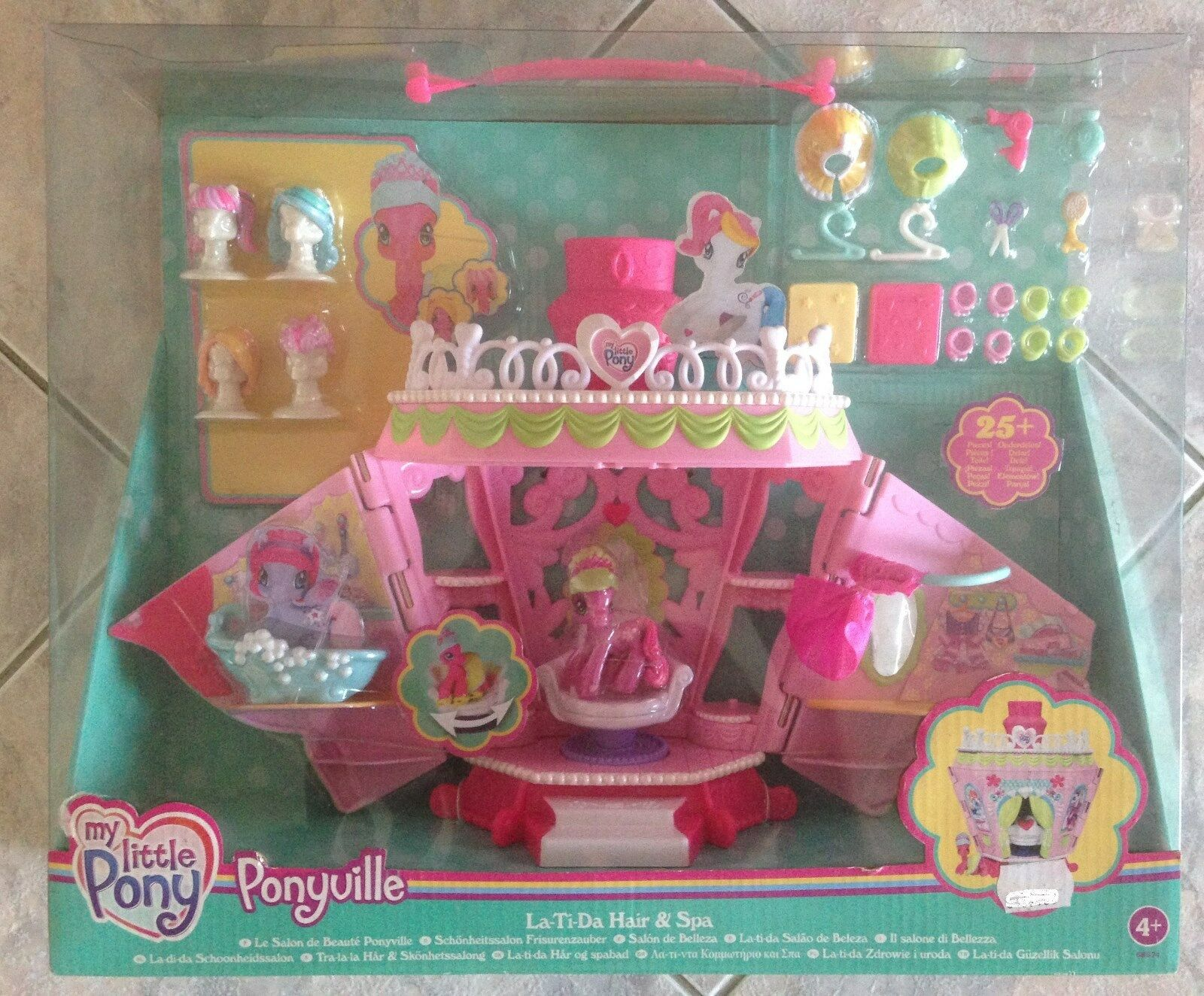 My Little Pony Ponyville La-Ti-Da Hair & Spa Salon Playset Cheerilee Wigs MIB