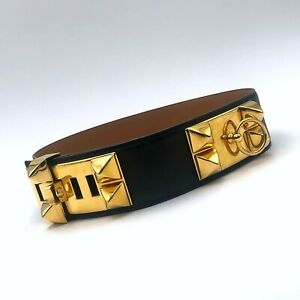 Iconic-HERMES-Collier-de-Chien-CDC-Medor-Black-Leather-Gold-Stud-Belt-Size-60-XS