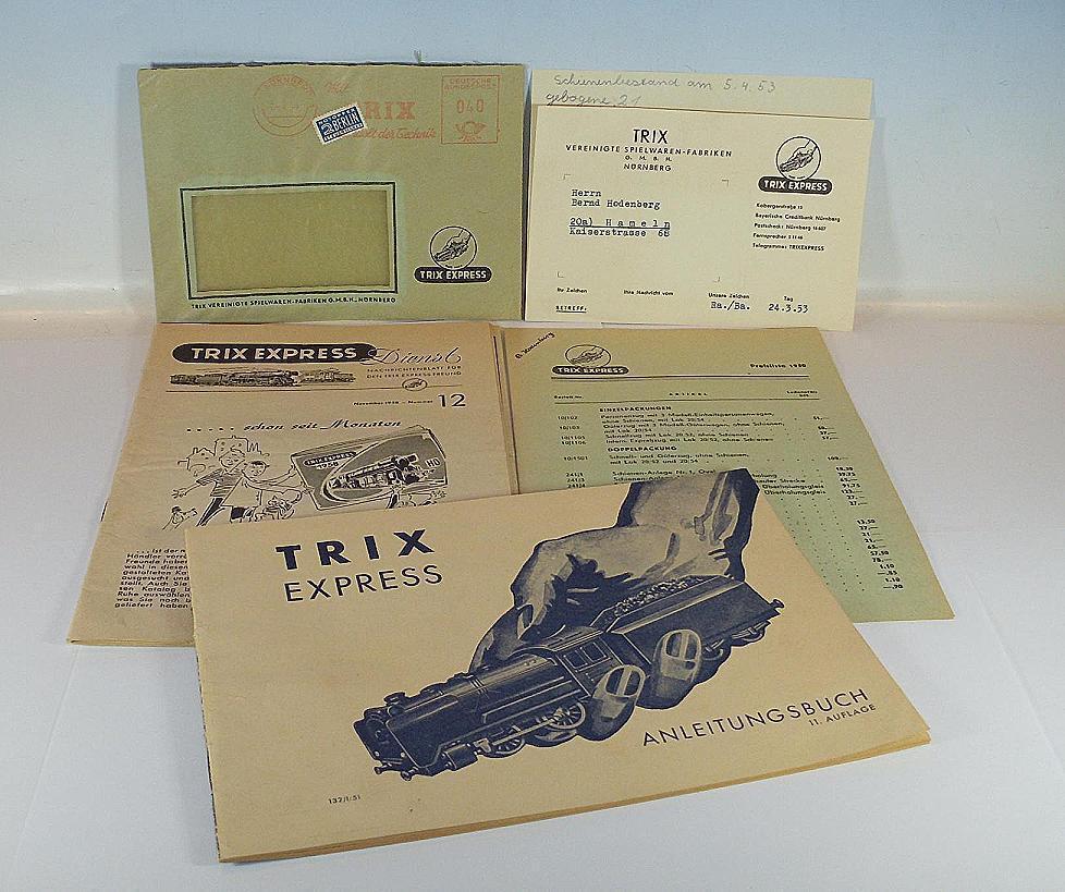 Trix EXPRESS h0/00 istruzioni 1951, te servizio 12/1958 & lettera materiale  5512