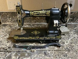 White-Family-Rotary-Sewing-Machine-Antique-1924-1925-Knee-Control-Tested-Used
