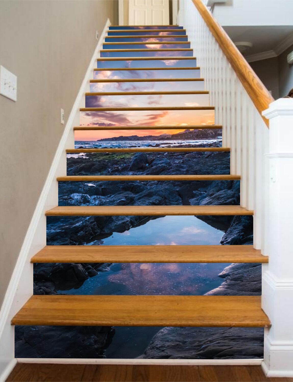 3D Sky Lake 367 Stair Risers Decoration Photo Mural Vinyl Decal Wallpaper UK