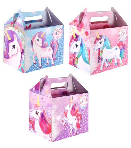 6 Unicorn Party Boxes Toy Loot//Party Bag Fillers Wedding//Kids Food Meal