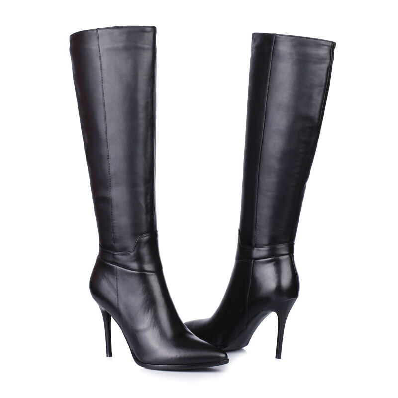 Womens Stilettos High Heel Pointed Toe Leather Knee High Boots Side Zipper Boots