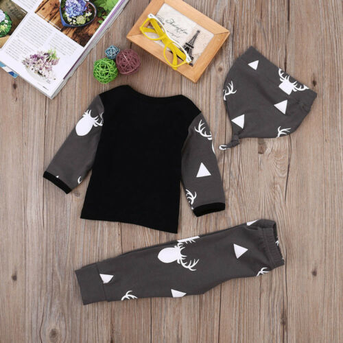 Toddler Boys Winter Later Autumn Long Sleeve Top Pants Hat Festival Outfits 3pcs