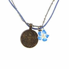 Disney Lilo And Stitch Pendant Chain Cord Necklace Blue Hibiscus Flower Charm