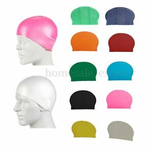 Durable-Flexible-Sporty-Latex-Swimming-Swim-Cap-Bathing-Hat-Unisex-8-Colors