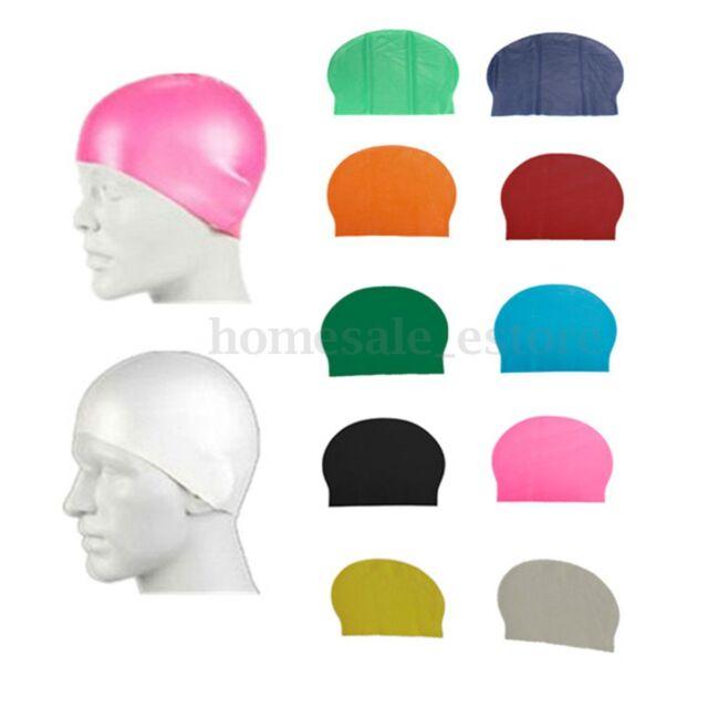 Durable Flexible Sporty Latex Swimming Swim Cap Bathing Hat Unisex 8 Colors