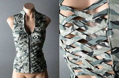 Womens Camouflage Camo Steampunk Military Army Cut Out Back Jacket Vest Top SML